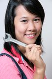 Girl and Wrench Stock Photos