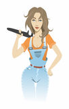 Girl with a wrench Stock Photography