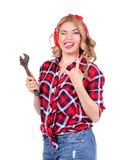 Girl with a wrench retro Stock Photos