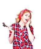 Girl with a wrench retro Royalty Free Stock Images