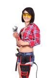 Girl with wrench Stock Photo