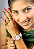 Girl with wrist watch stock photos