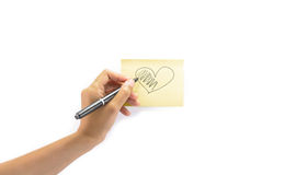 Girl write heart Royalty Free Stock Images