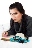 Girl with write notes Royalty Free Stock Photos
