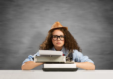Girl writer Royalty Free Stock Photos