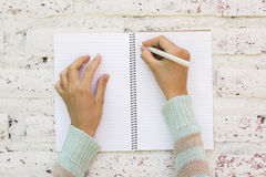 Girl writes in notebook Royalty Free Stock Images