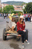 Girl writes a text message. Gambellara, northern Italy, Italy - september, 27, 2015 - farmer gir writes a text message sitting on parade float, during Gambellara Royalty Free Stock Image