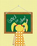 Girl writing Back to school. On a chalkboard vector illustration Stock Photos