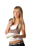 Girl with writing-books Stock Photo