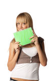 Girl with writing-books Stock Photography