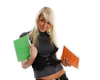 Girl with writing-books Royalty Free Stock Photography