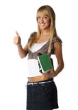 Girl with writing-books and laptop Royalty Free Stock Photography