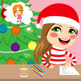 Girl Writing Christmas Letter. Cute little happy girl thinking and writing wishlist letter of Christmas presents royalty free illustration
