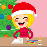 Girl Writing Christmas Wishlist Presents Royalty Free Stock Images
