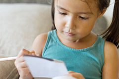 Girl writing, drawing with pencil. Education concept Royalty Free Stock Photos