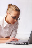 Girl writing e-mail Stock Images