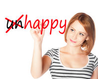 Girl writing Happy and crossing unhappy Royalty Free Stock Photo