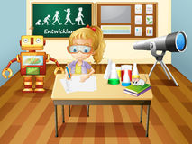 A girl writing inside a science laboratory room stock illustration