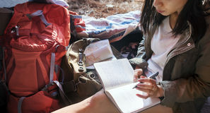 Girl Writing Journal Tent Concept. Girl Writing Journal Tent Outdoors Stock Images