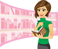Girl writing in notebook with library background. Illustration of a girl writing in notebook with library background.Woman gestures concept.Contain gradient and royalty free illustration