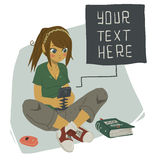 Girl Writing Text Message on Her Mobile Phone. The vector illustration of young girl writing message on her mobile phone for games, ui, tablets, smart phones Royalty Free Stock Photo