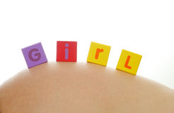 Girl written with alphabet cubes Royalty Free Stock Photography