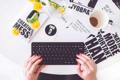 Girl Written black Keyboard Stock Photos