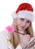 Girl writting Stock Photo