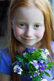 Girl wth Flowers Royalty Free Stock Photography