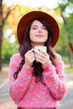 Girl wtih cup of coffee Royalty Free Stock Photos