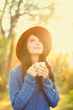 Girl wtih cup of coffee Stock Photo