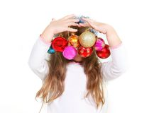 Girl with xmas balls Stock Image