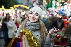 Girl at Xmas market Royalty Free Stock Photos