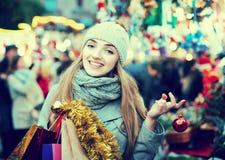 Girl at Xmas market Royalty Free Stock Images
