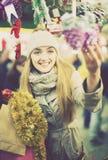 Girl at Xmas market Stock Image