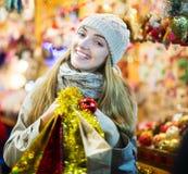 Girl at Xmas market Stock Photo