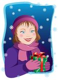 Girl with Xmas present Stock Photography