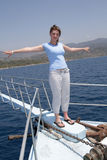 Girl on yacht Royalty Free Stock Photography