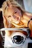 Girl on a yacht Stock Photos