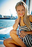 Girl on a yacht stock photo