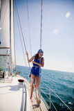 Girl on a yacht Stock Photography