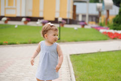 Girl in Yard Royalty Free Stock Photography