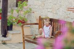 Girl in Yard Stock Images