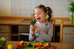 Girl of 8-9 years sits at a kitchen table. Royalty Free Stock Photo
