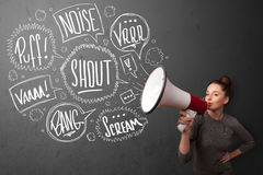 Girl yelling into megaphone and hand drawn speech bubbles come o Royalty Free Stock Photo