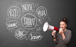 Girl yelling into megaphone and hand drawn speech bubbles come o Stock Photography