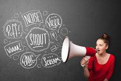 Girl yelling into megaphone and hand drawn speech bubbles come o Royalty Free Stock Photography