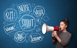 Girl yelling into megaphone and hand drawn speech bubbles come o Royalty Free Stock Image