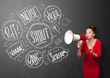 Girl yelling into megaphone and hand drawn speech bubbles come o Stock Photos
