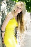 Girl in a yellow Royalty Free Stock Photo